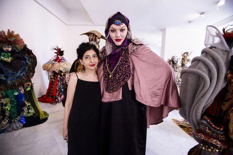 Head, Fashion, Tradition, Event, Costume, Room, Fashion design, Mask, Cosplay,