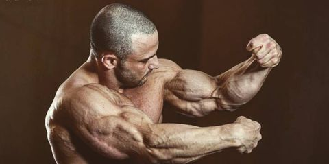 Bodybuilding, Bodybuilder, Muscle, Arm, Shoulder, Chest, Joint, Physical fitness, Barechested, Human body,