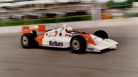 flying low danny sullivan takes his penske chevy around the exhibition place circuit yesterday en r