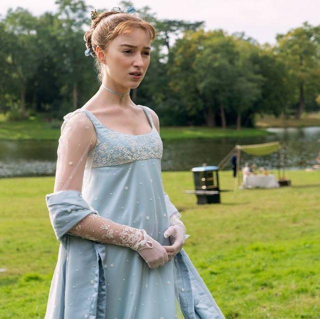 daphne bridgerton in blauwe jurk