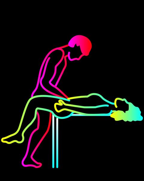 Elbow, Human leg, Magenta, Knee, Wrist, Calf, Illustration, Graphics, Balance, Painting,