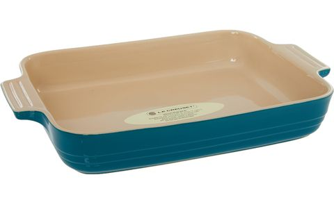 Dark Teal Glazed Roasting Dish, Le Creuset