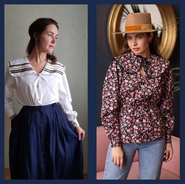 most fashionable big collar tops