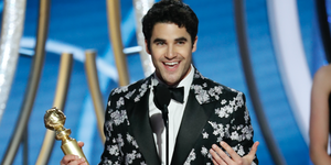 "Darren Criss from ""The Assassination of Gianni Versace: American Crime Story"" accepts the Best Performance by an Actor in a Limited Series or Motion Picture Made for Television award onstage during the 76th Annual Golden Globe Awards"