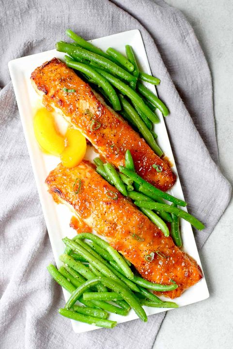 date night bourbon peach glazed salmon