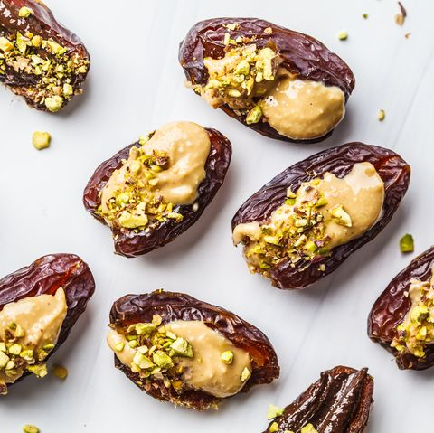 healthy plant-based snacks - nut butter stuffed dates