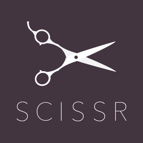 the scissr logo with a pair of scissors