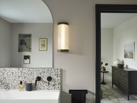 davey lighting wide pillar wall light weathered brass