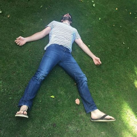 People in nature, Jeans, Green, Grass, Blue, Denim, Leg, Fun, Shoulder, Joint,