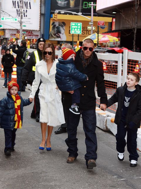 """The Beckhams Visit """"The Little Mermaid"""" on Broadway - February 17, 2008"""