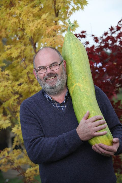David Thomas with a giant cucumber Malvern Autumn Show