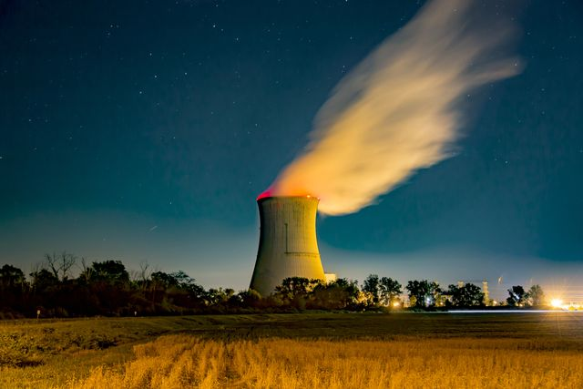 davis besse nuclear power station under a star filled sky