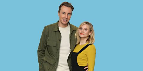 Dax Shepherd and Kirsten Bell with blue background