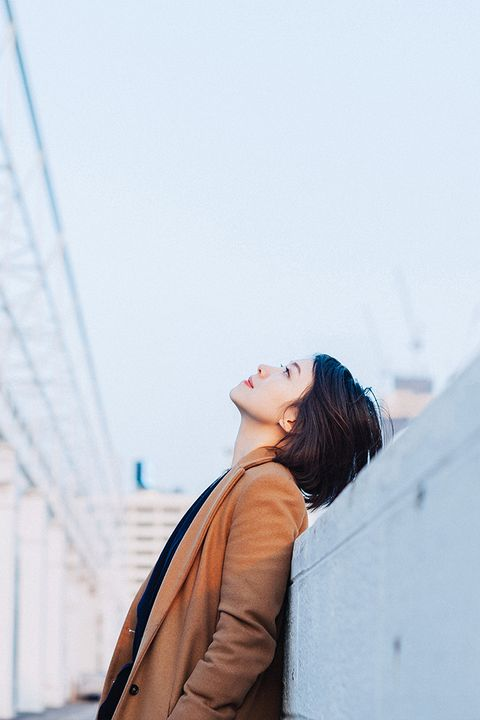 Photograph, Blue, Beauty, Shoulder, Street fashion, Yellow, Sky, Photography, Outerwear, Joint,