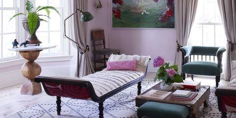 Furniture, Room, Interior design, Property, Living room, Purple, Pink, Table, Floor, Bedroom,