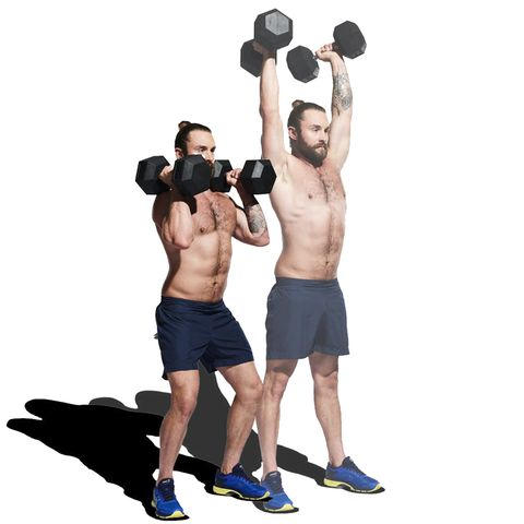 Weights, Exercise equipment, Overhead press, Shoulder, Kettlebell, Dumbbell, Standing, Physical fitness, Sports equipment, Joint,