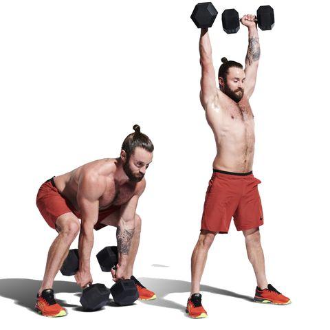 Weights, Exercise equipment, Overhead press, Shoulder, Barbell, Kettlebell, Dumbbell, Standing, Sports equipment, Arm,