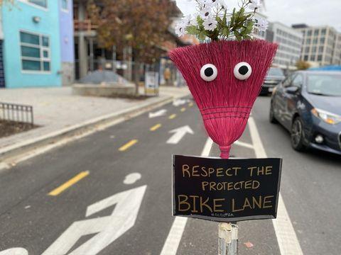 Washington, D.C. bike lane brooms