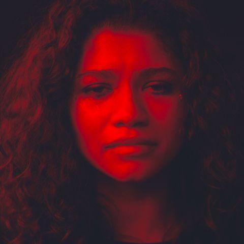 Face, Red, Black, Head, Light, Darkness, Beauty, Nose, Human, Eye,