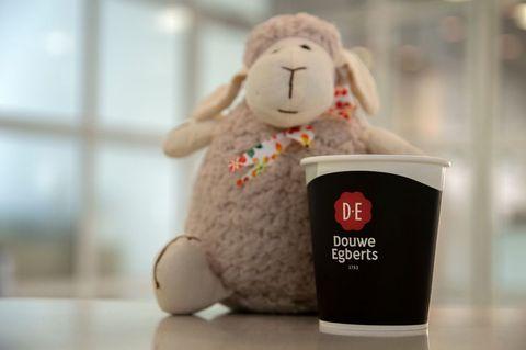 Stuffed toy, Toy, Plush, Sheep, Coffee cup,