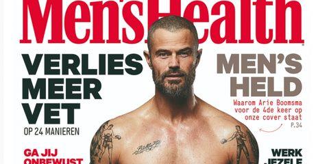 Facial hair, Magazine, Beard, Chin, Muscle, Font, Chest, Professional wrestling, Tattoo, Flesh,