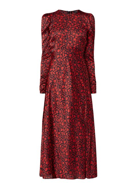 Clothing, Dress, Day dress, Red, Cocktail dress, Sleeve, Maroon, A-line, Pattern, Neck,