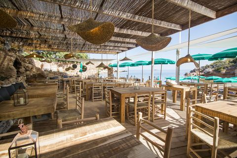 Restaurant, Turquoise, Sky, Building, Real estate, Resort, Vacation, Room, Furniture, Table,