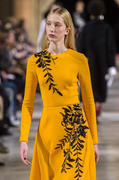 Fashion model, Fashion, Yellow, Runway, Fashion show, Clothing, Haute couture, Street fashion, Dress, Event,
