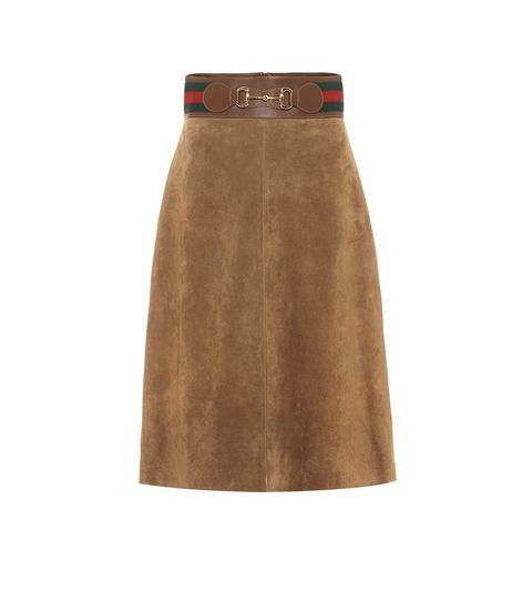 de mooiste leren rokken voor najaar 2020   gucci leather skirt leren rok suede