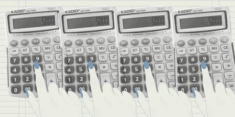 een tekening van een hand op een rekenmachine voor elle's rubriek de rekening
