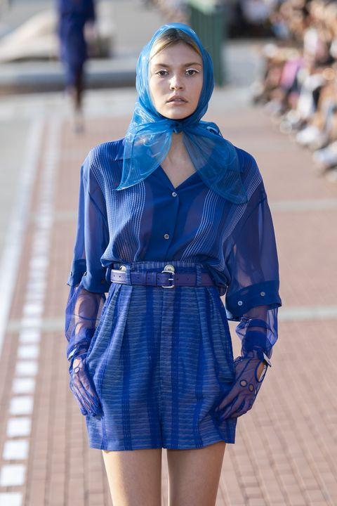 Blue, Cobalt blue, Clothing, Electric blue, Fashion, Street fashion, Fashion model, Beauty, Denim, Leg,