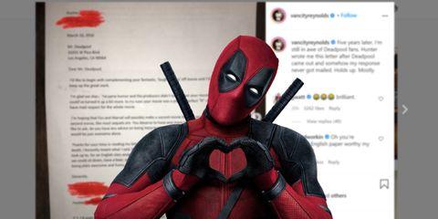 deadpool sobre una publicación de ryan reynolds en instagram