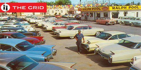 Motor vehicle, Vehicle, Car, Classic, Full-size car, Car dealership, Classic car, Hardtop, Parking, Sedan,