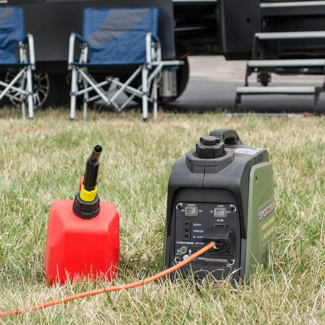 a power generator and a gasoline tank outside