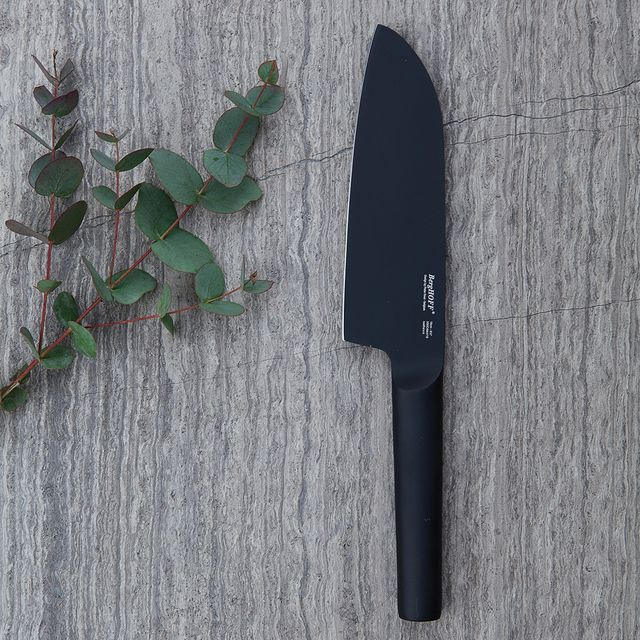 a black chef's knife