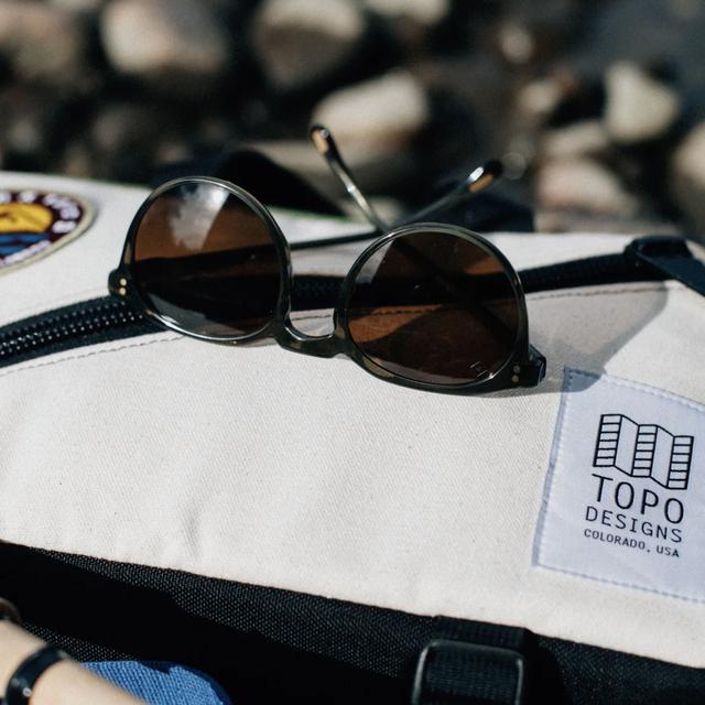 sunglasses on a bag