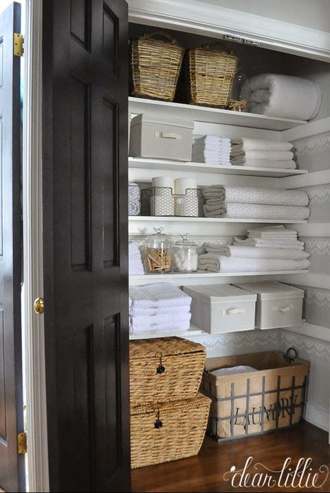 Baskets Linen Closet Organization