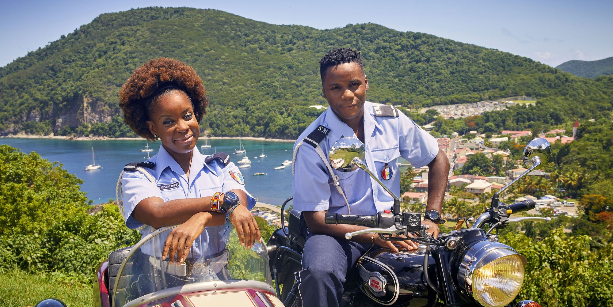 Ruby (Shyko Amos) and JP (Tobi Bakare) in Death in Paradise