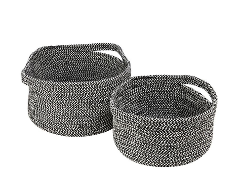 Home Collection - Set of 2 monochrome 'Hygge' round storage baskets