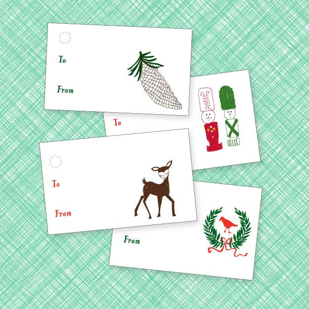 four holiday gift tags