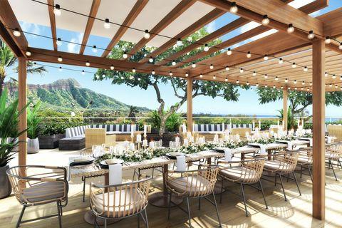 Restaurant, Property, Building, Resort, Patio, Real estate, Shade, Interior design, Pergola, Table,