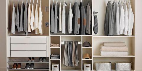Closet, Clothes hanger, Room, Wardrobe, Cupboard, Furniture, Floor, Shelf, Flooring, Cabinetry,