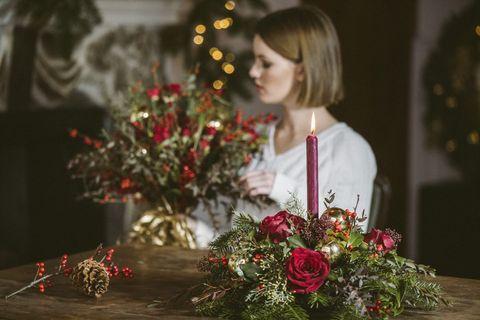 decorar flores navidad