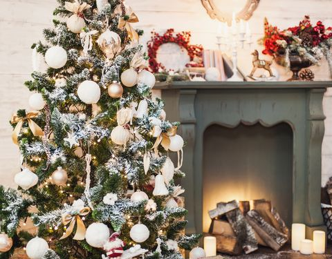 Decorated Christmas tree in a home interior
