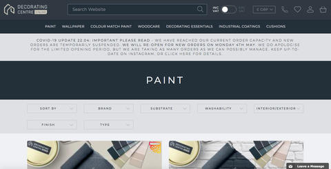 decorating centre online