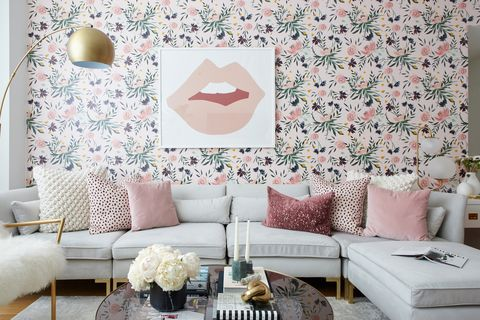 Wallpaper, Living room, Pink, Room, Wall, Interior design, Furniture, Pattern, Design, Interior design,