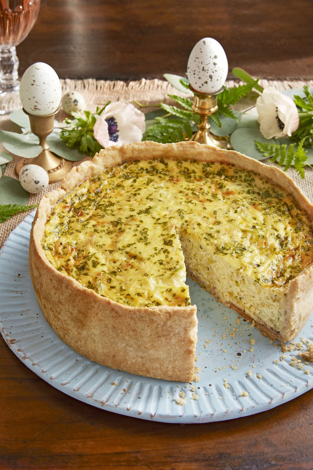 deep-dish bacon and leek quiche