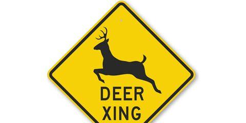 Yellow Deer Crossing Sign
