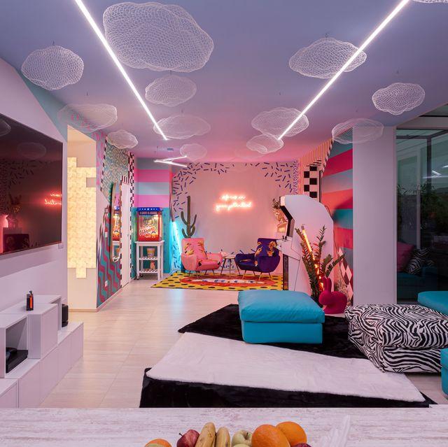 Lighting, Interior design, Room, Ceiling, Furniture, Wall, Decoration, Interior design, Light fixture, Living room,