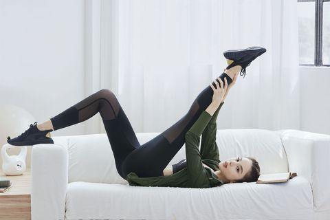 Leg, Thigh, Tights, Footwear, Furniture, Knee, Couch, Leggings, Joint, Human leg,